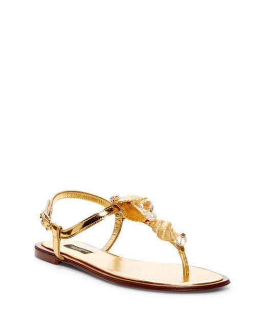 Dolce & Gabbana | Multicolor Crystal & Pearl Embellished Seashell Flat Sandal | Lyst