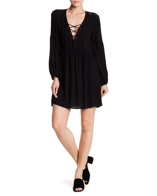 Lush | Black Lace Up Babydoll Dress | Lyst