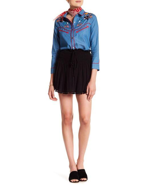 English Factory | Black Shirred Pompom Mini Skirt | Lyst