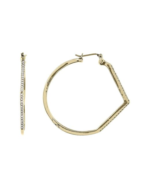 Jessica Simpson | Metallic Crystal Detail Chevron Accent 41mm Hoop Earrings | Lyst