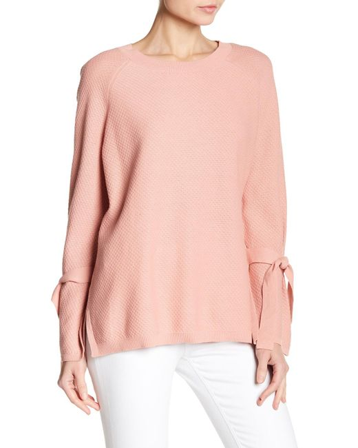 Two By Vince Camuto - Pink Texture Stitch Tie-sleeve Top - Lyst