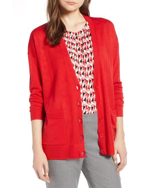 Halogen - Red (r) V-neck Merino Wool Cardigan (regular & Petite) - Lyst
