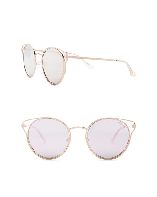 Lyst - Guess 52mm Round Metal Frame Sunglasses