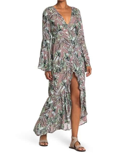 Maaji Gray Forest Song Hyponsis Long Sleeve Maxi Dress