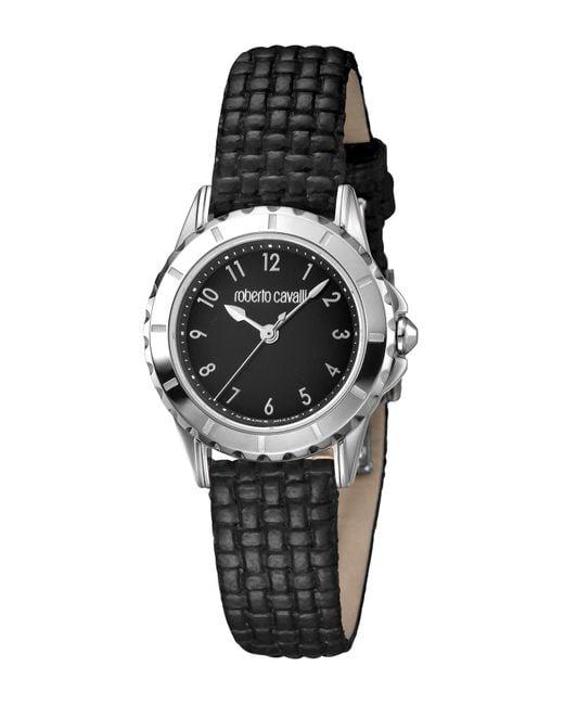Roberto Cavalli Women's Black Dial Black Textured Leather Strap Watch