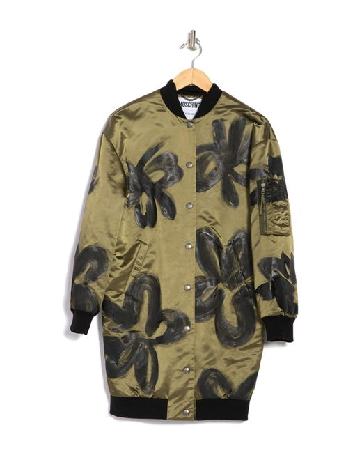Moschino Green Painted Flower Long Line Bomber Jacket