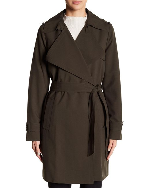 Michael Michael Kors Draped Wrap Waist Tie Trench Coat In