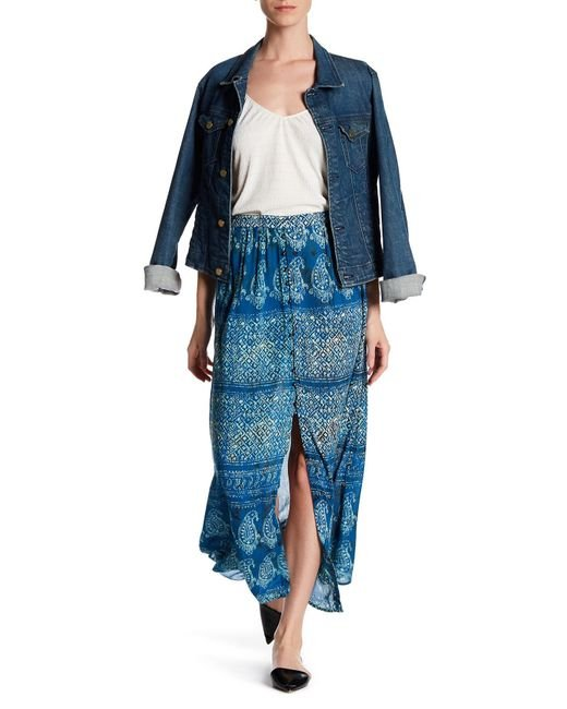 angie button up printed maxi skirt in blue lyst