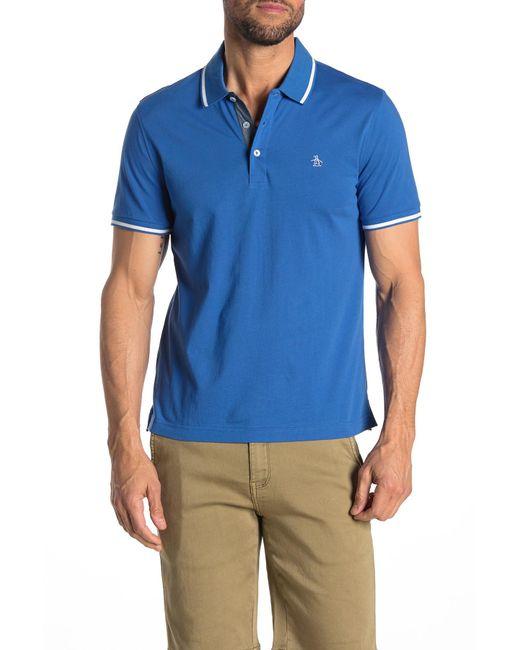 6517b5eb Original Penguin - Blue Contrast Tip Short Sleeve Polo for Men - Lyst ...