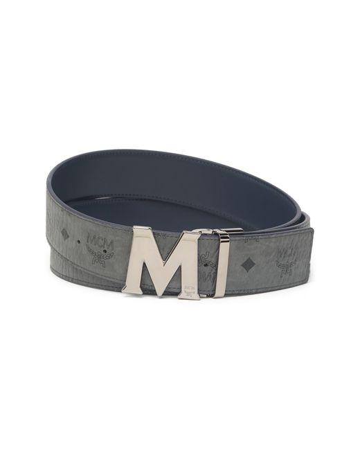 MCM Blue Claus Matte M Visetos Reversible Buckle Belt In Dark Shiny Cobalt At Nordstrom Rack for men