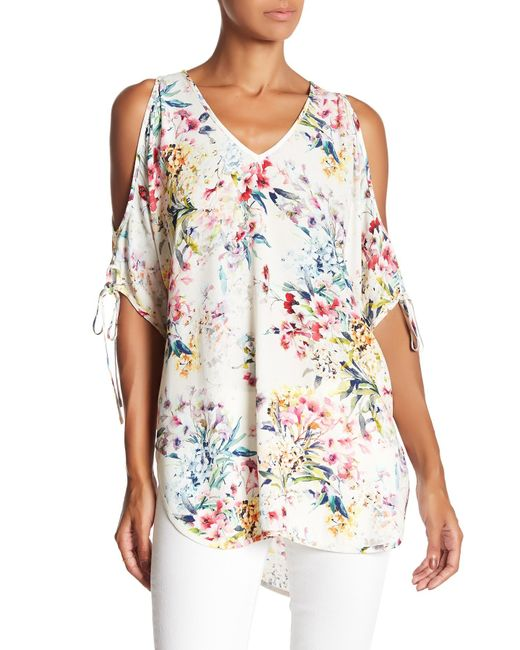 Fifteen Twenty | Multicolor Floral Cold Shoulder Blouse | Lyst