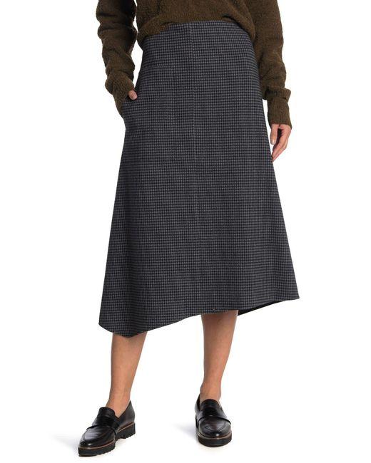 Tibi Black Camille Check Wrap Skirt