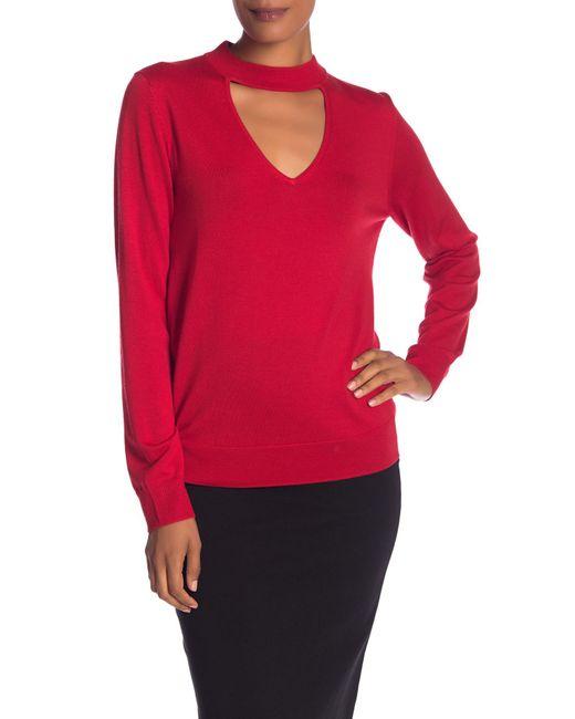 Trina Turk - Red Graham Front Cutout Merino Wool Pullover - Lyst