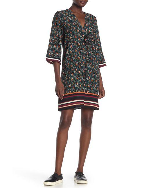 Bobeau Black Floral & Stripe Trim Sheath Dress