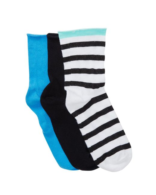 Hue | Multicolor Roll Top Shortie Socks - Pack Of 3 for Men | Lyst