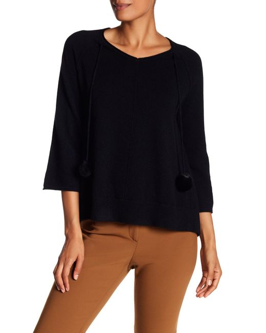 In Cashmere - Black Faux Fur Tassel Cashmere Sweater - Lyst