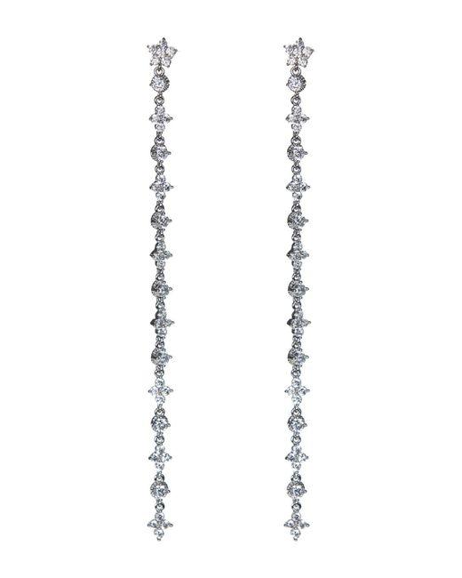 CZ by Kenneth Jay Lane - Metallic Floral Cz Accented Linear Drop Earrings - Lyst