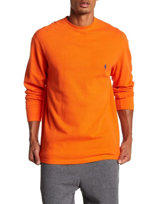 Polo Ralph Lauren - Orange Waffle Knit Crew Neck Long Sleeve Shirt for Men - Lyst