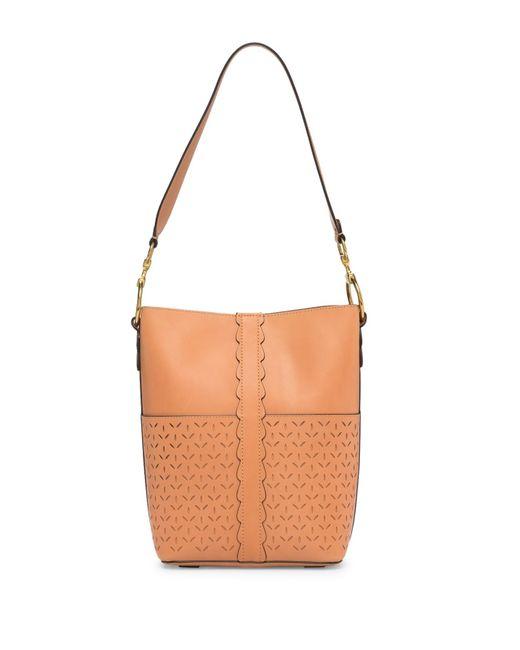 Frye - Brown Ilana Perforated Leather Bucket Hobo - Lyst