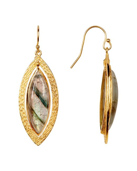Argento Vivo | Metallic 18k Gold Plated Sterling Silver Marquee Shape Labradorite Earrings | Lyst