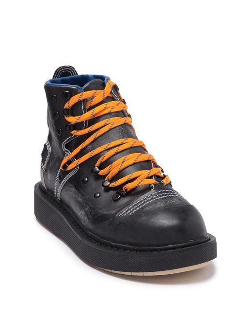 DIESEL Black Cage D Mid Hiking Boot for men