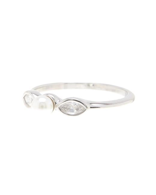 Adornia White Sterling Silver 3mm Freshwater Pearl & Swarovski Crystal Marquise Ring - Size 6
