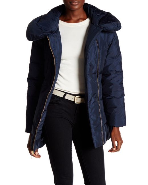Cole Haan Pillow Collar Down Puffer Coat In Blue Save 44