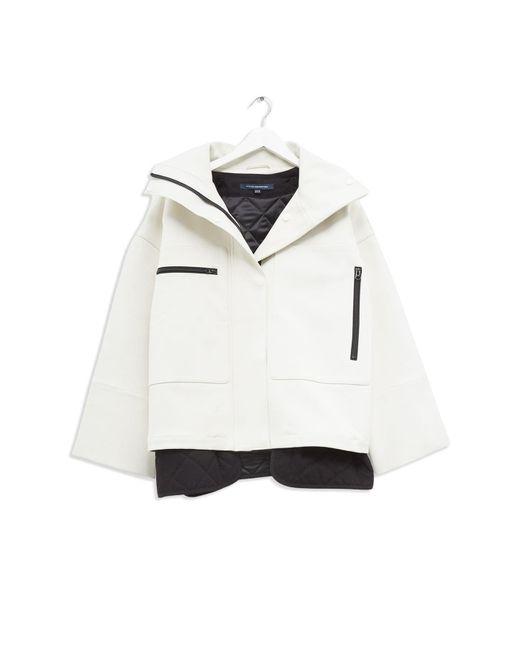 French Connection White Betti Technical Kimono Sleeve Jacket
