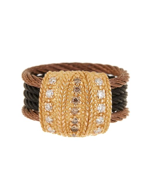 Alor - Metallic 18k Gold & Stainless Steel Cable Pave Champagne Diamond Ring - 0.33 Ctw - Size 6.5 - Lyst