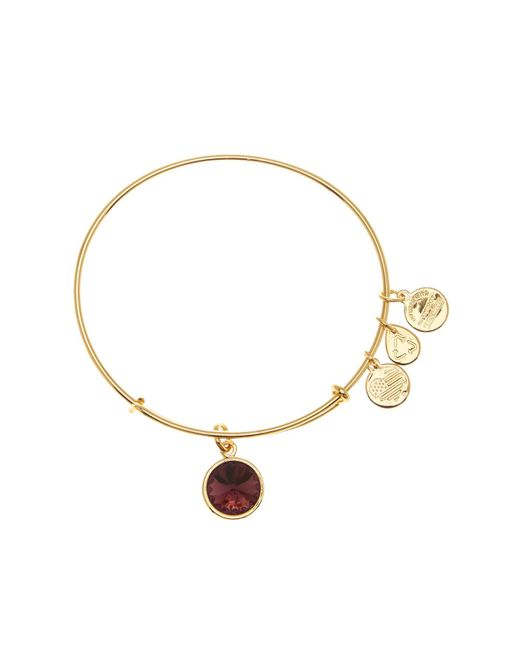 ALEX AND ANI - Metallic February Crystal Birthstone Expandable Wire Bangle - Lyst