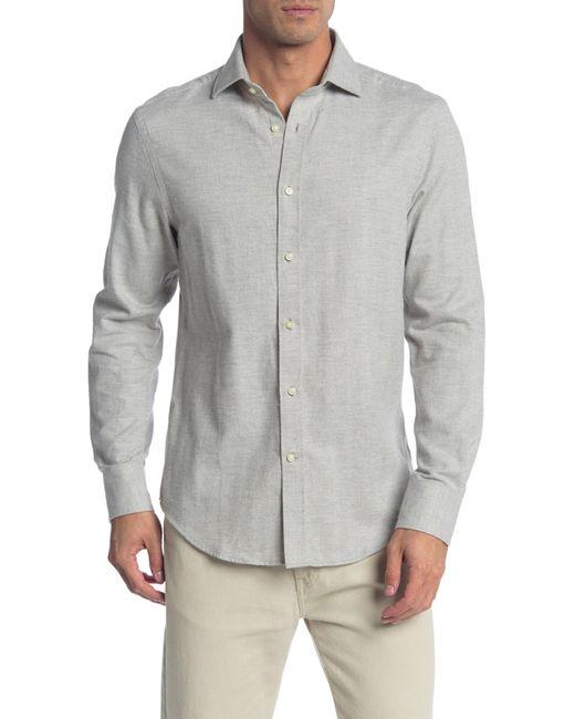 Thomas Dean Gray Herringbone Long Sleeve Shirt for men