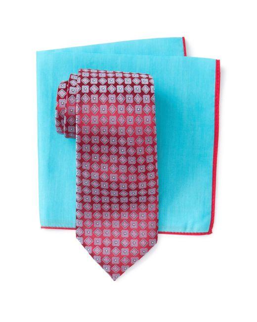 bddc2c78 Ted Baker - Red Silk Frame Medallion Tie & Pocket Square Set for Men ...