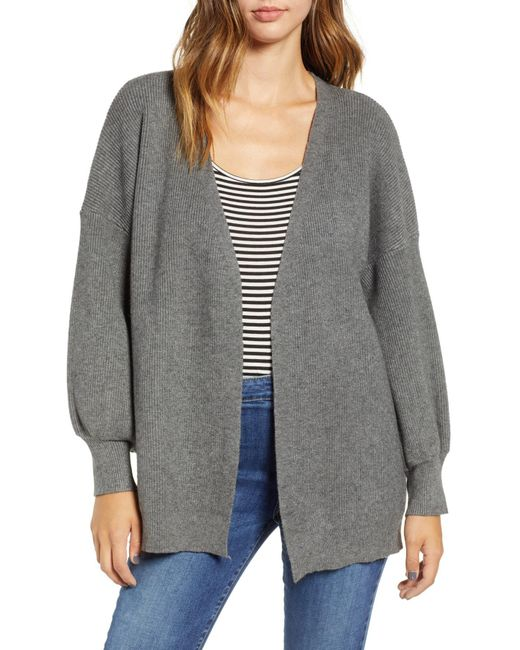 Dreamers By Debut - Gray Balloon Sleeve Cardigan - Lyst