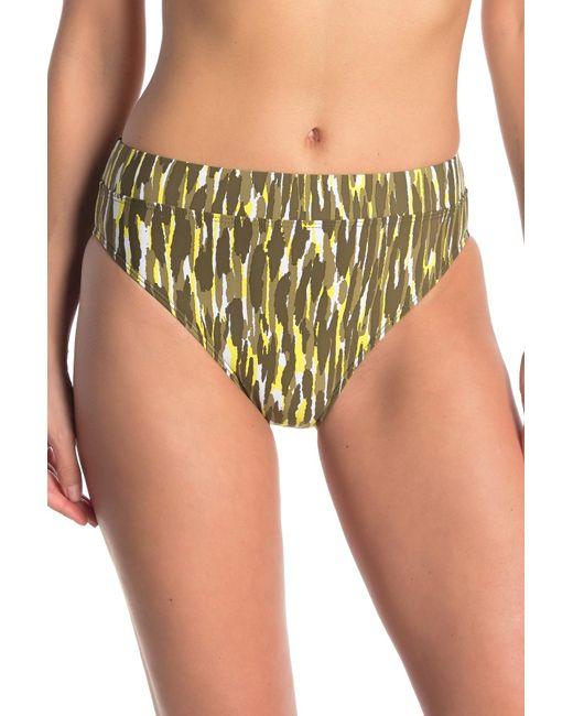 Ella Moss Green Printed High Waist Bikini Bottoms