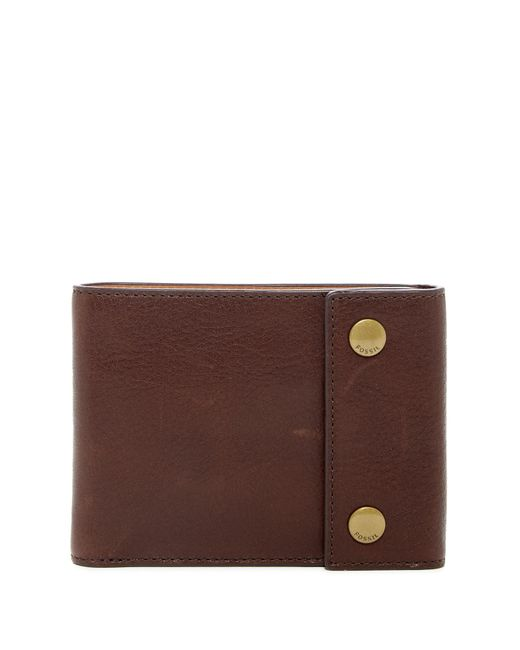 Fossil - Brown Ethan Snap Billfold Leather Wallet for Men - Lyst