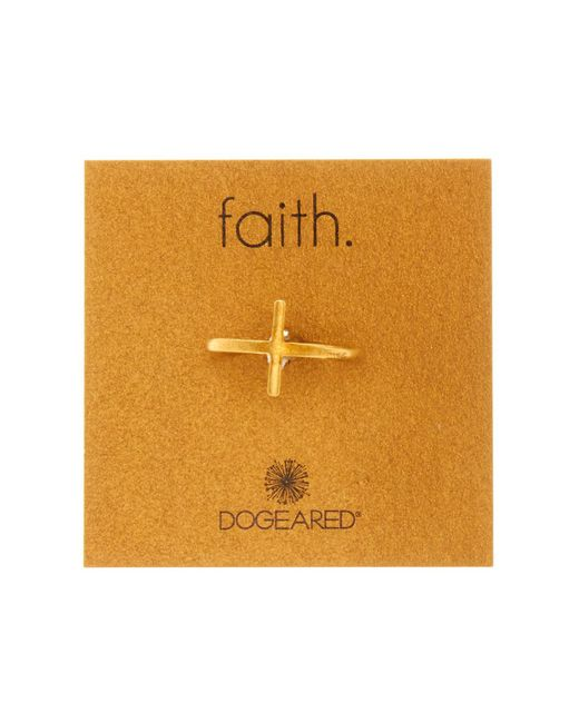 Dogeared - Metallic 14k Gold Plated Sterling Silver Large Cross Ring - Size 6 - Lyst