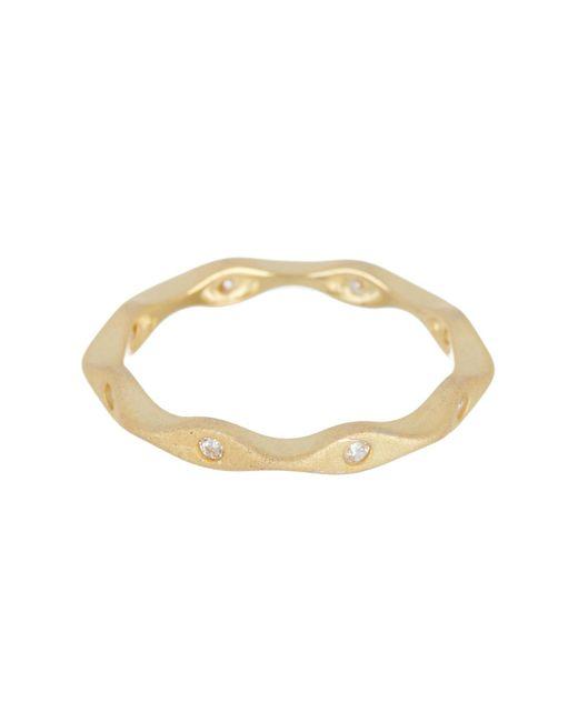 Adornia Yellow Gold Plated Swarovski Crystal Wavy Band Ring