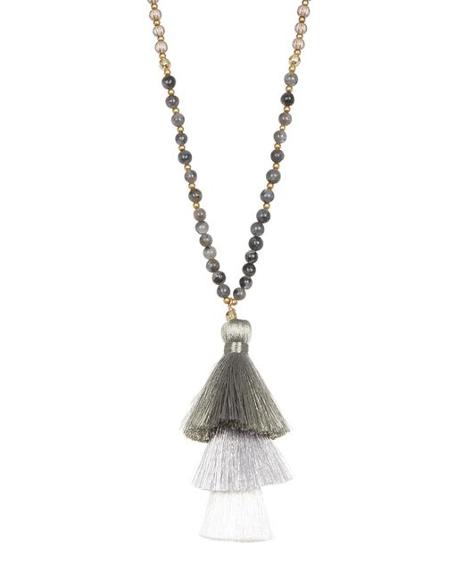 Panacea | Metallic Long Beaded Necklace With Stacked Tassel Pendant | Lyst