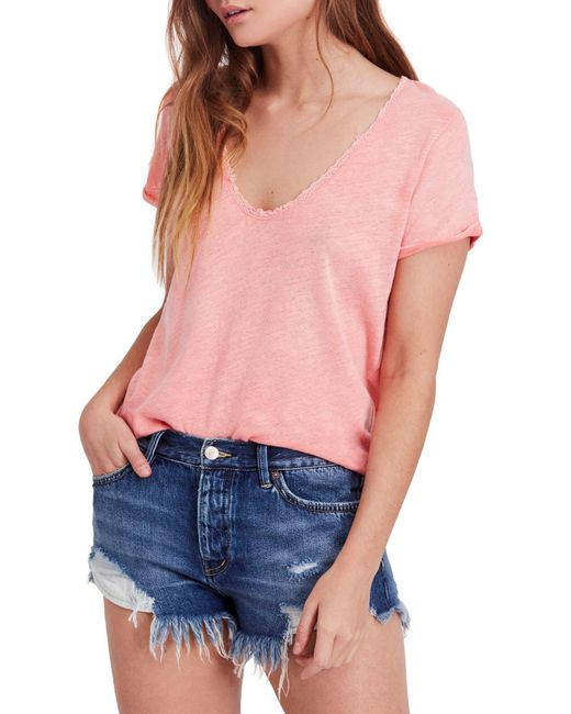 Free People - Pink We The Free By Saturday Lace Trim Linen Blend Tee - Lyst