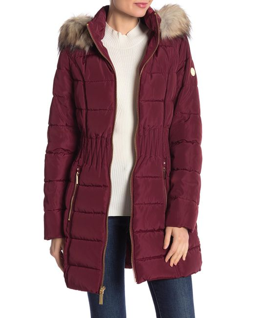 Laundry by Shelli Segal - Red Windbreaker Faux Fur Trim Puffer - Lyst