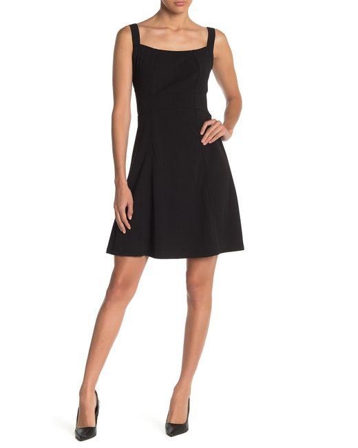 Bebe Black Solid Fit And Flare Dress