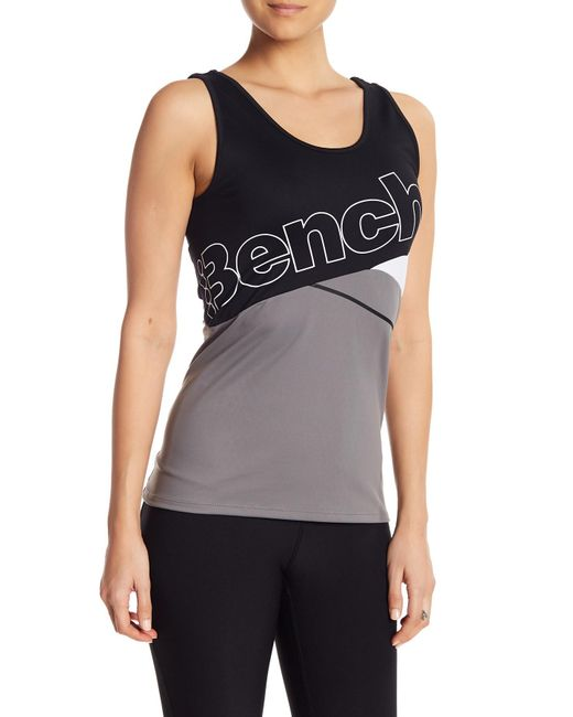 Bench - Gray Colorblock Logo Tank Top - Lyst