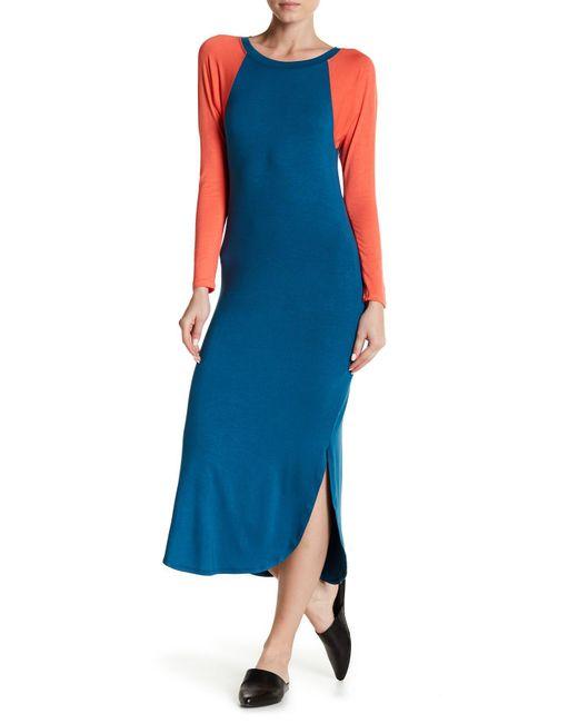C&C California - Blue Geri Baseball Raglan Midi Dress - Lyst