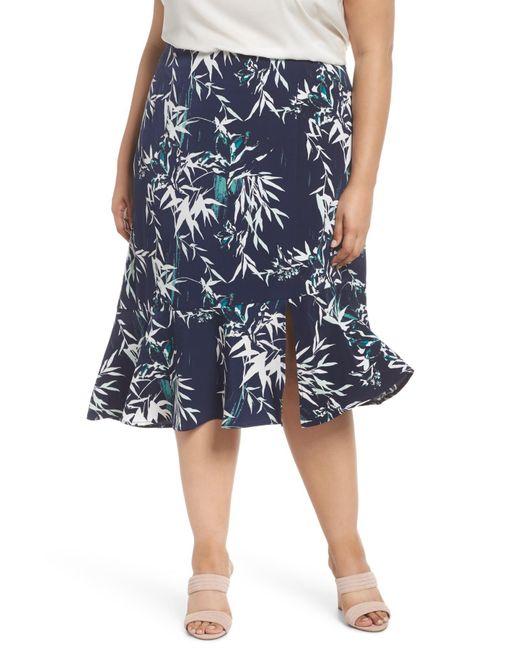 87a8a65ad98 Lyst - Sejour Slit Hem Skirt (plus Size) in Blue - Save ...