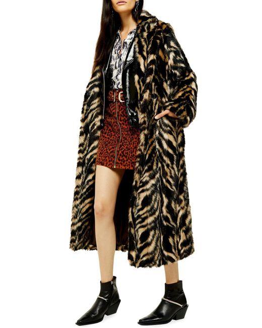 TOPSHOP Black Faux Fur Tiger Print Coat