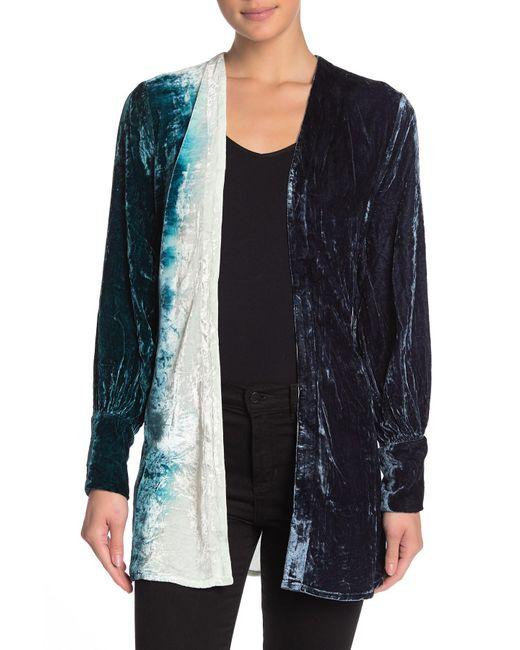 Chaser Blue Bishop Sleeve Belted Velvet Kimono