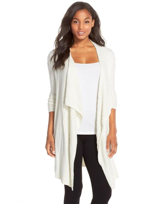 Barefoot Dreams | White Cable Knit Drape Front Cardigan | Lyst