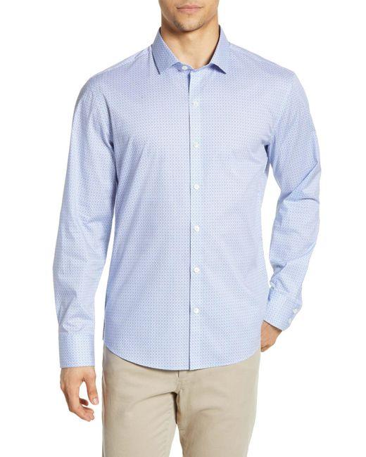 Zachary Prell Blue Van Meter Regular Fit Print Sport Shirt for men