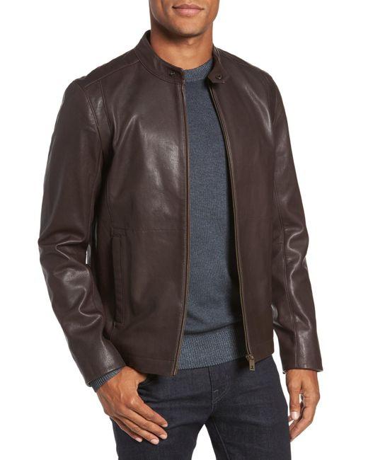 Ted Baker - Brown Mate Leather Biker Jacket for Men - Lyst
