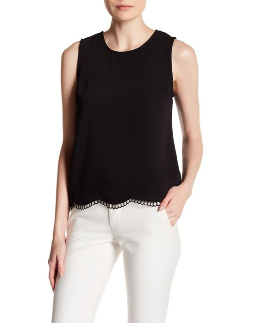 Cece by Cynthia Steffe | Black Soft Crepe Scallop Embroidery Tank | Lyst